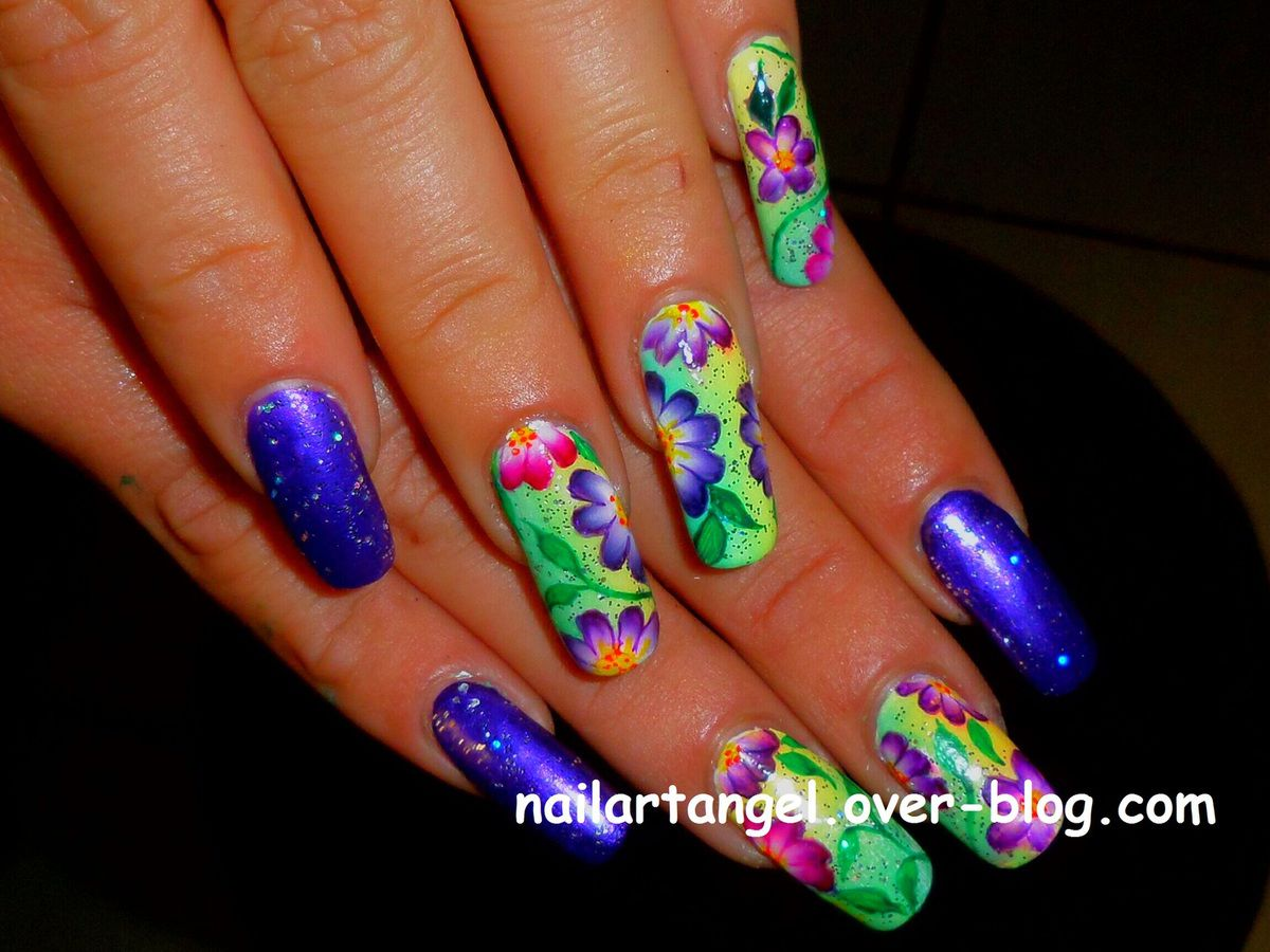 nail art fleurs one stroke, nail art pas à pas, tutoriel, #nailartangel