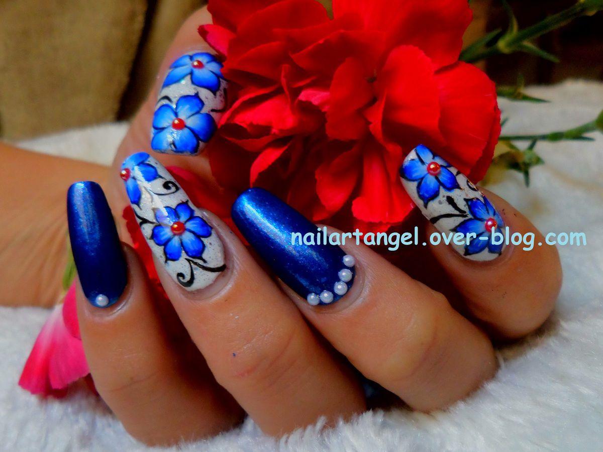 nail art fleurs, nail art fleur one stroke, nail art facile, nail art pas à pas #nailartangel #nailart #onestroke