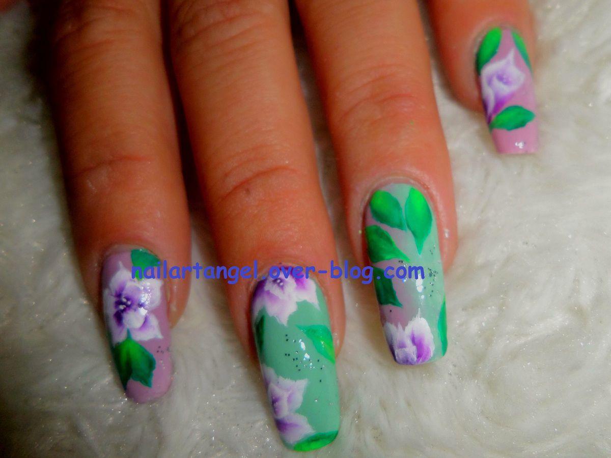 peinture pébéo, nail art fleur, nail art vintage, nail art one stroke, nailartangel, nail art pas à pas, #nailartangel, #nailart, #onestroke, #fleurs, #printemps