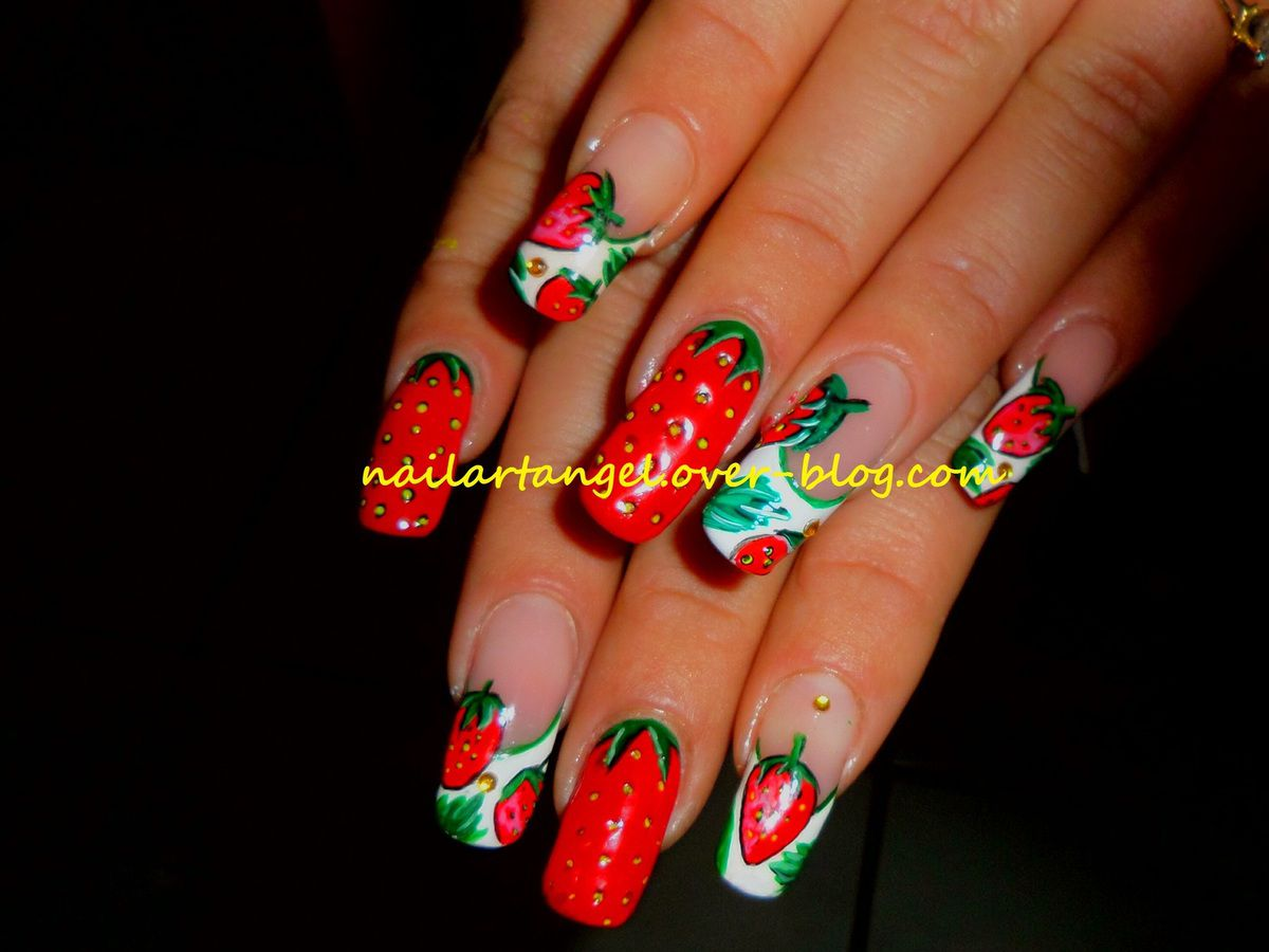nail art fraise, nail art printemps, tutoriel sur youtube. #nailart, #nailartangel, #tutoriel, #tutorial, nailartangel