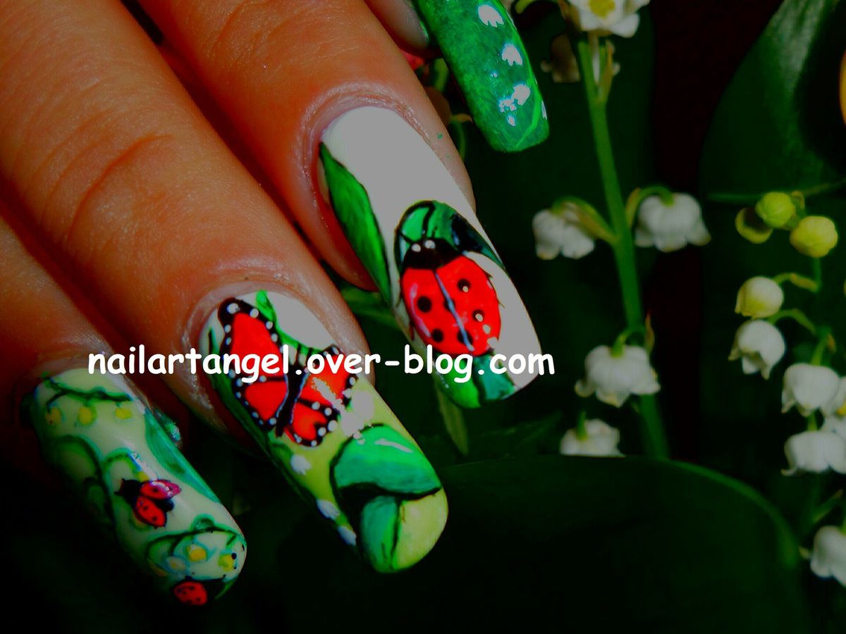 #nailart, #1ermai, #muguet, #nail art muguet, #nailartangel, #papillon, #coccinelle