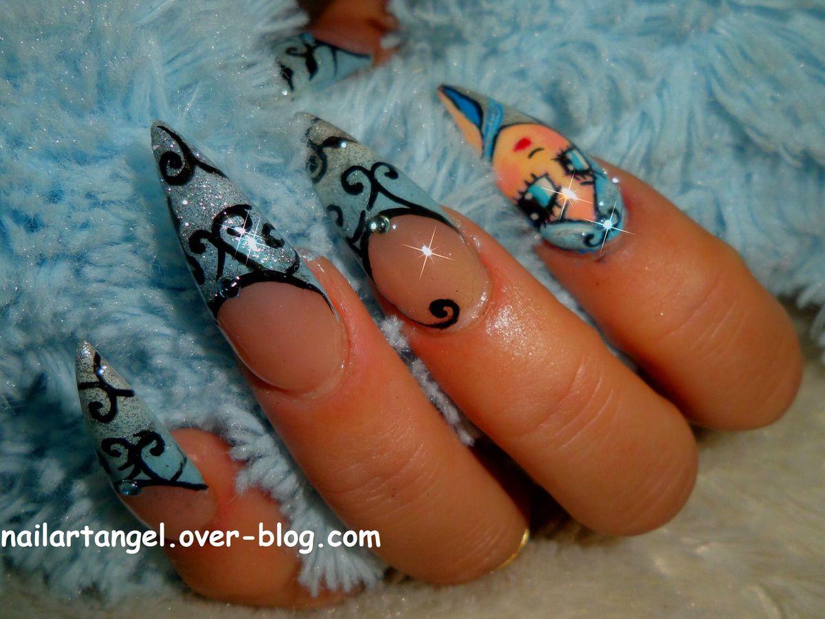 nail art hiver, nail art de princesse, nail art arabesque, nail art pas à pas tutoriel vidéo, nailartangel, manucure élégante