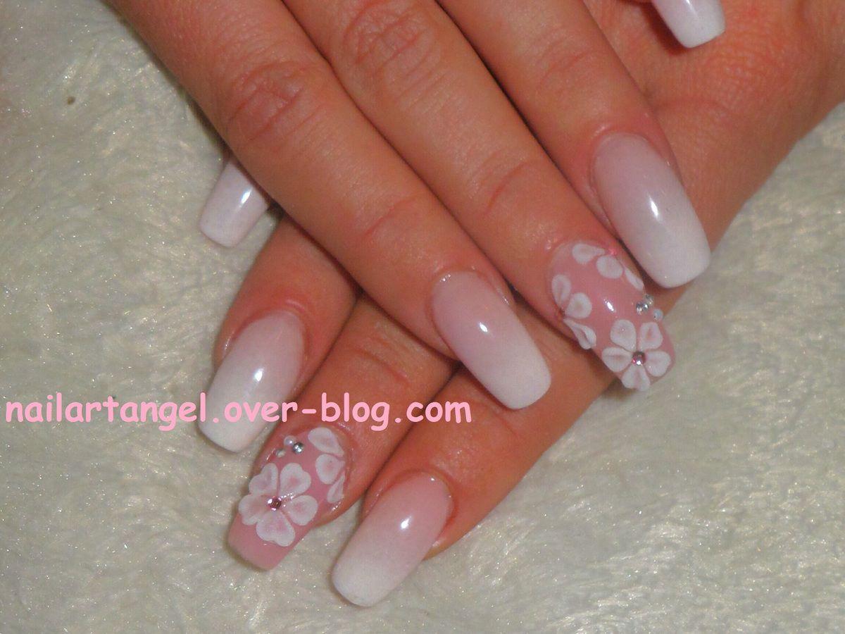 nail art fleurs, nail art fleurs 3 D, nail art babyboomer, nailartangel, nail art easy, nail art step by step, manucre, manucure élégante
