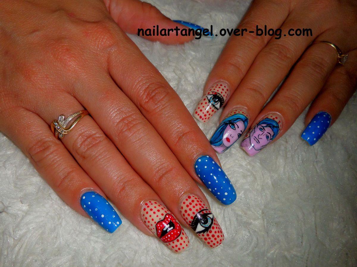 Nail art comics, nail art pop, nail art superman, nails, Comic book nails, nailartangel, nail art pas à pas