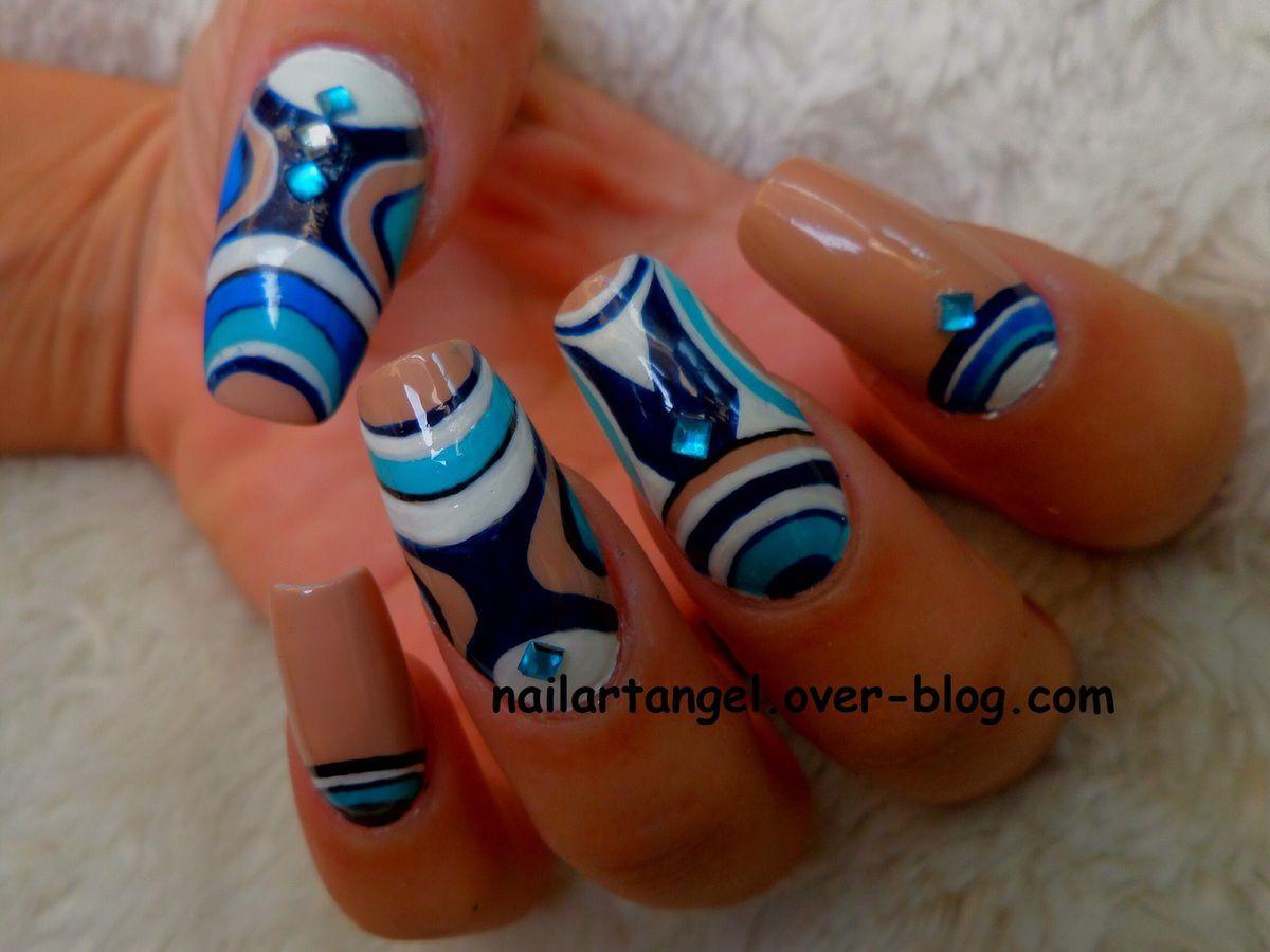 nail art tribal nail art design tutorialnail art bleu