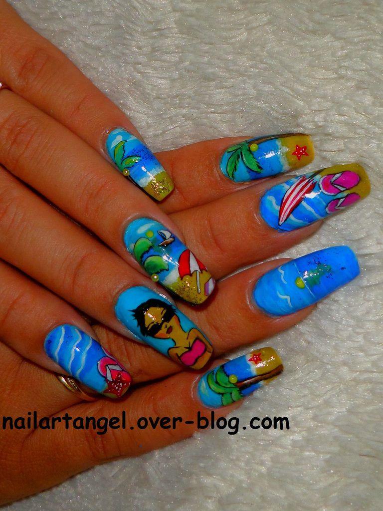 nail art plage, nail art cocotir, nail art palmier, nail art été, nailartangel, nails, nails art, nails step by step, nailpolish
