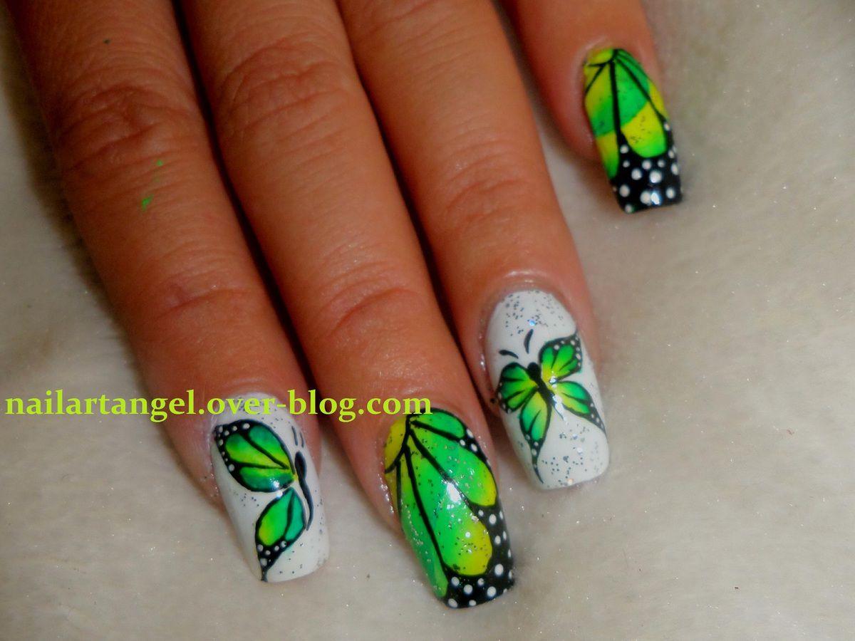 Nail art papillon, nail art, nail art one stroke , nails, nailpolish, tutoriel, nailartangel, nail art butterfly