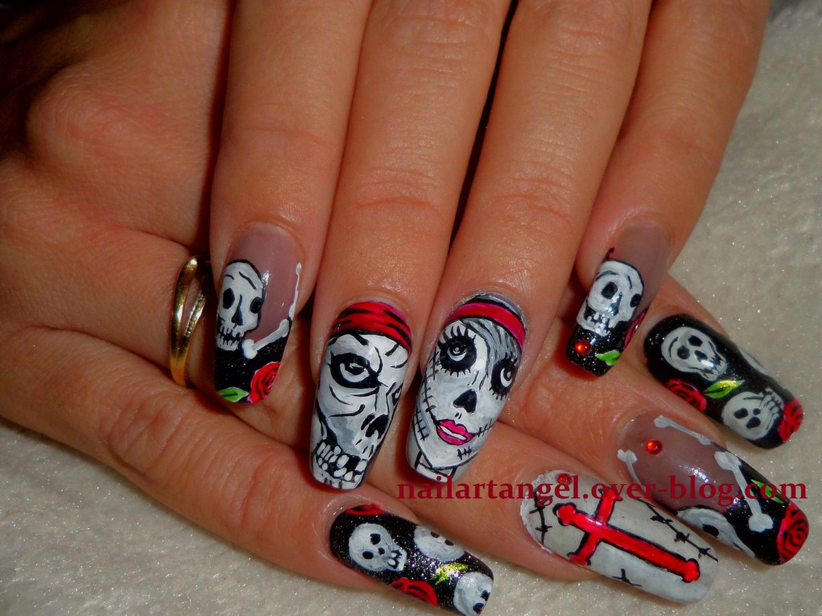 nail art tête de mort, nail art zombie, nail art pas à pas, nails step by step, ,ailartangel, nail art Halloween, nail art girly