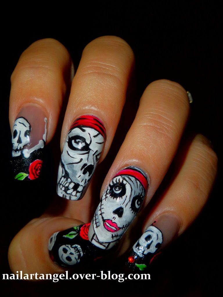 nail art halloween, nail art tête de mort, nail art zombie, nailartangel, nails step by step, nail art pas à pas, nail art facile