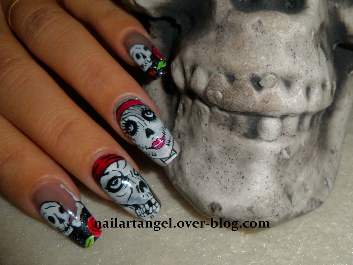 nail art Halloween, nail art tête de mort, nail art zombie, nail art, nails step by step, nail art pas à pas, nailartangel, nailpolish, nail art élégant