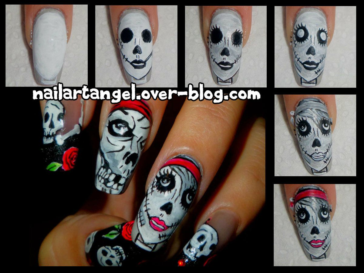 nail art Halloween, nail art tutoriel halloween, nailartangel, nail art tête de mort, nail art zombie, nails step by step, nail art pas à pas, nail art girly