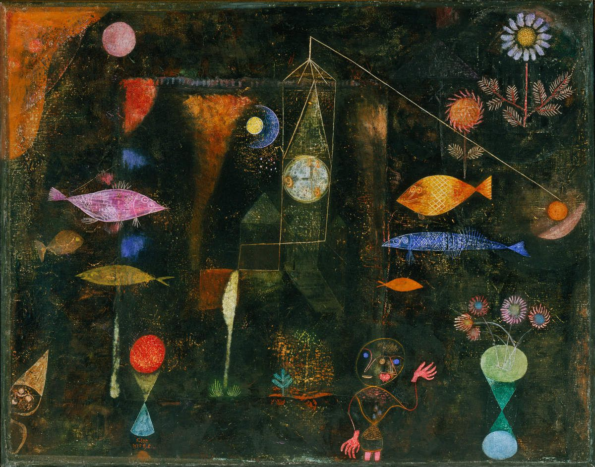 Paul Klee     Swiss    1879 - 1940    /      Fish Magic 1925     /    Oil and watercolor on canvas on panel   /    Philadelphia Museum of Art