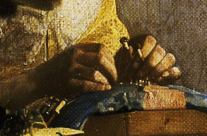 Jan Vermeer, La dentellière, détail, huile, vers 1665, musée du Louvre. -- sur le site du Louvre --
