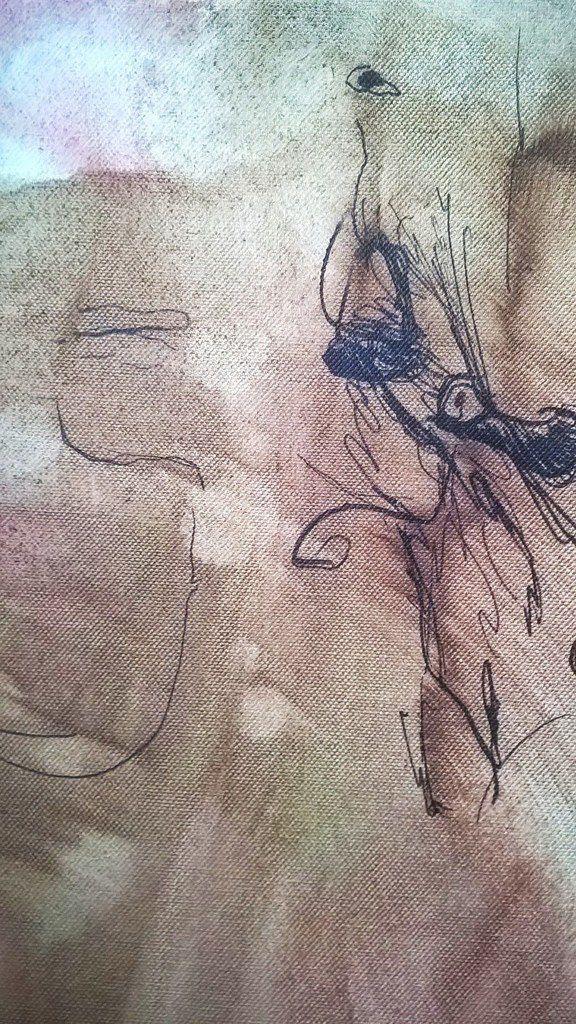 """Peinture, inachevée, esquisse à l'huile, """"naissance du visage"""""""
