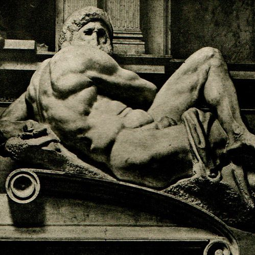 Le Jour, Chapelle des Médicis, La Nuit - Le Jour, Michel Ange, héliogravure originale sur papier d'art. Anonyme. 1920, copyright : La Galerie Napoléon - www.galerie-napoleon.com -