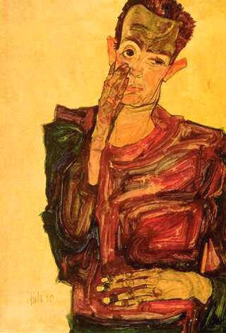 "E.Schiele  ""Autoportrait "", 1911, gouache sur papier, © Graphische Sammlung Albertina, Vienne"