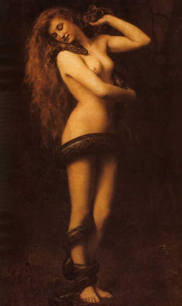 LILITH WITH A SNAKE, BY JOHN COLLIER, 1887.