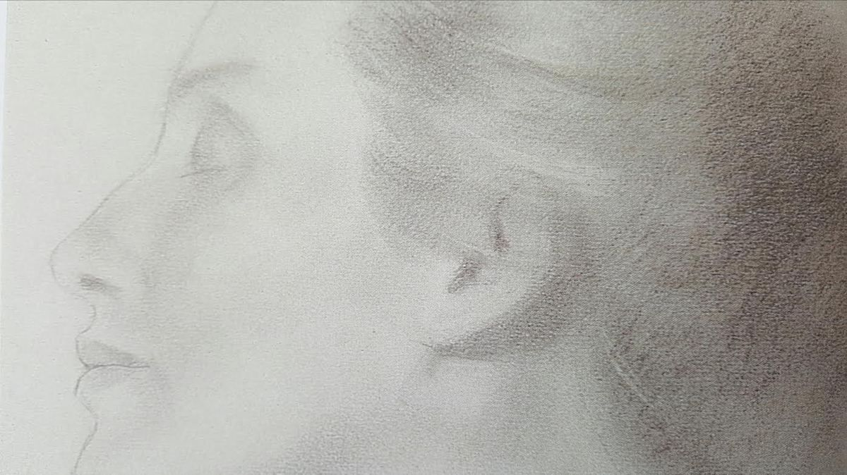 K. Gibran, détail, sans titre (étude de visage), non daté, crayon sur papier, don de Mary Haskell Minis, 1950, Telfair Museum of Art.