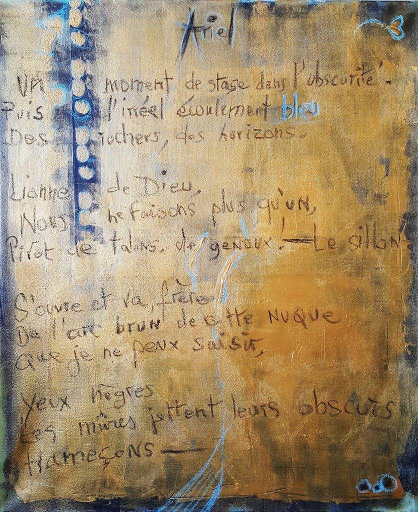 """Tableau---détails--- OR II ---en cours, le poème """"Ariel"""" devant être inclus dedans---, Martine Cros, acrylique & craies pastels sur toile."""