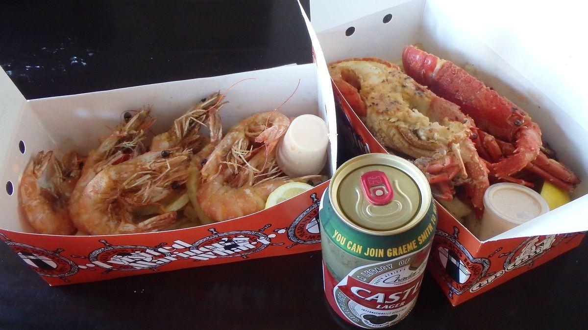 Le fish and chips revisité : homard et crevettes.