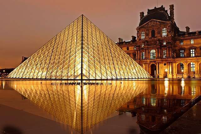 Pyramid in Louvre is one of the most distinctive symbols of Paris