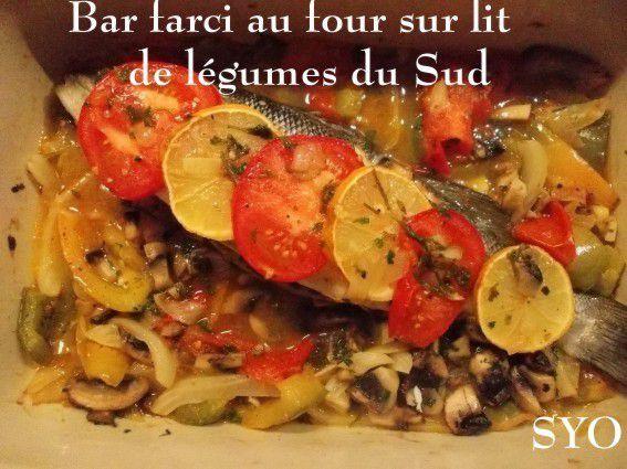 Bar Farci, sur lit de légumes du Sud