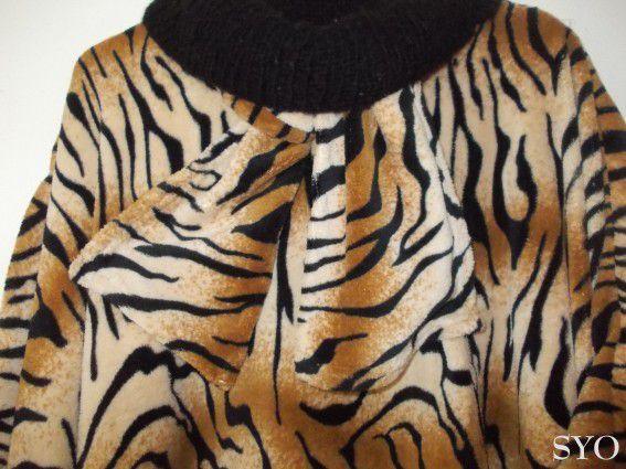 Tutoriel Boubou tigré, plaids polaires , col tricot noir de Mamigoz