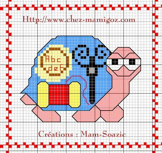 Plaid aux Tortues:  Tortue Brodeuse