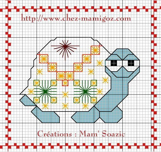 Plaid aux Tortues :  Tortue V, points fantaisie