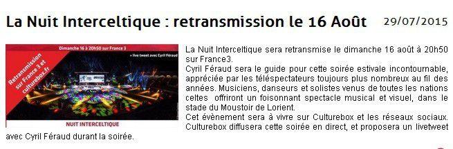Festival Interceltique de Lorient: FR3, 15h30, 9 août 2015
