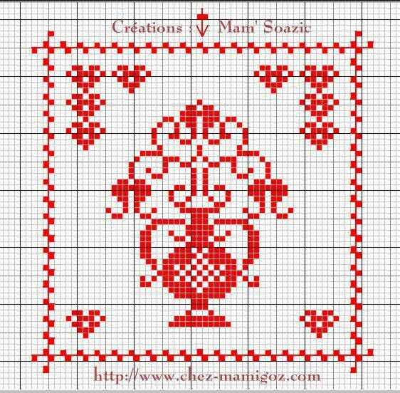 SAL : Plaid Broderie Rouge... Grille  5 D/4