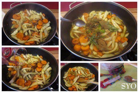 Fenouil et carottes braisés au lard et Quatre Epices