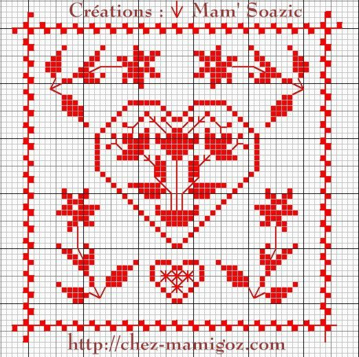 SAL : Plaid Broderie Rouge... Grille 64 / K9