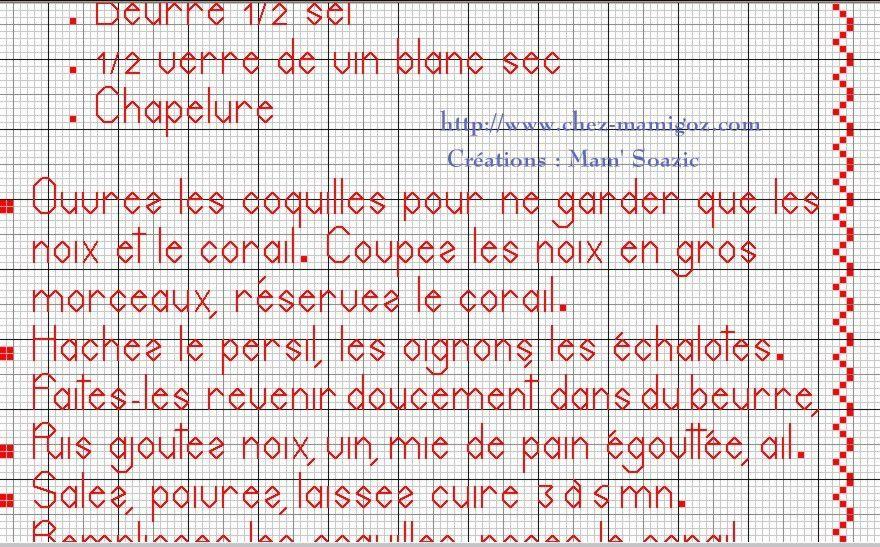 Livre Recettes Brodées de Mamigoz: Coquilles Saint Jacques à la Bretonne