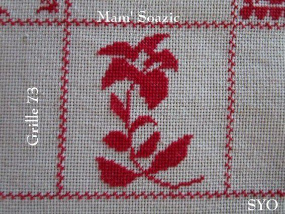 SAL : Plaid Broderie Rouge... Grille  73/ C13