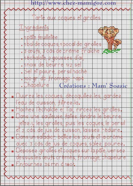 Livre Recettes Brodées de Mamigoz: Tarte aux coques et girolles