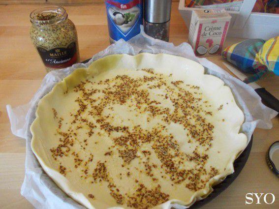 Tarte Crème de Coco, chipolatas, poivron et Massalé au Petit Bistro