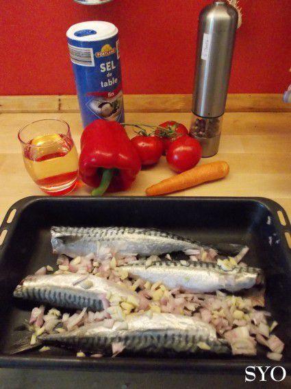 Maquereaux à la tomate, cuits au four.