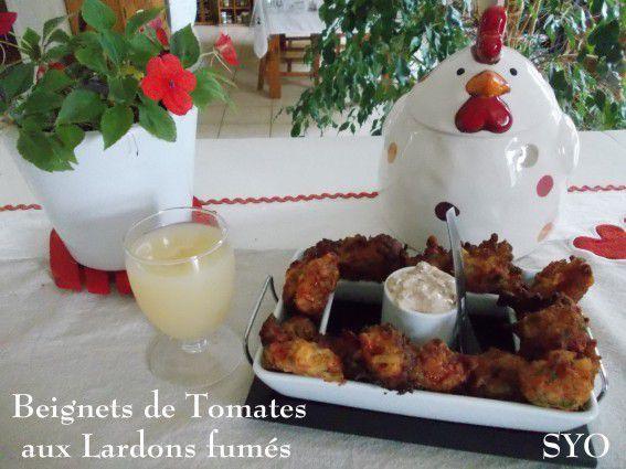 Beignets de tomates rouges aux lardons / Défi Prince de Bretagne