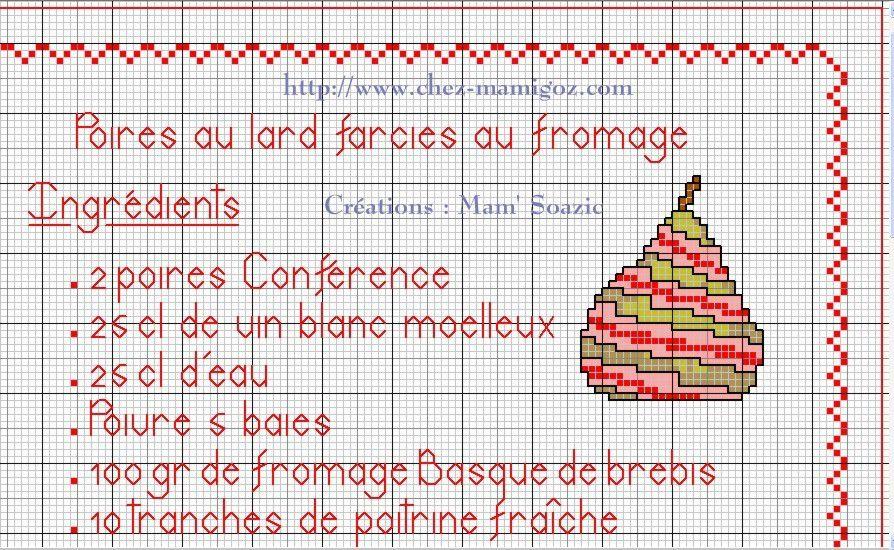 Livre Recettes Brodées de Mamigoz: Poires au lard farcies au fromage