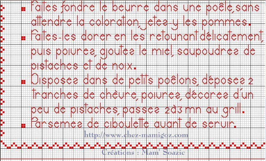 Livre Recettes Brodées de Mamigoz: Pommes poêlées au miel et chèvre