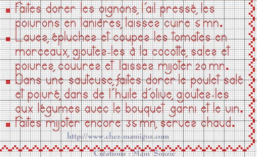 Livre Recettes Brodées de Mamigoz: Le Poulet Basquaise