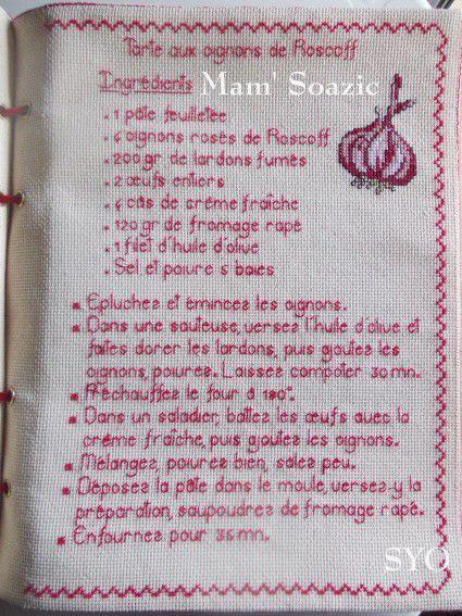 Livre Recettes Brodées de Mamigoz: Tarte aux Oignons de Roscoff