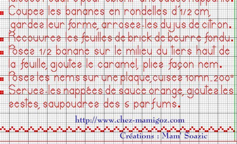 Livre Recettes Brodées de Mamigoz: Nems de Banane au caramel beurre salé