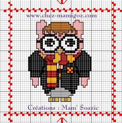 Chouette brodée  41 :  Harry Potter