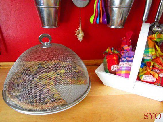 Tarte aux légumes d'été, sans pépins, au Curcuma et Lard.