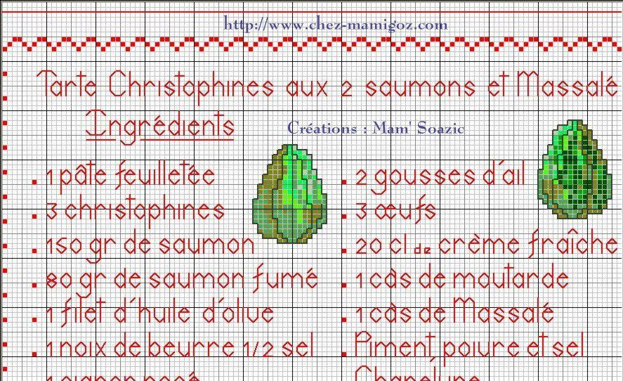 Livre Recettes Brodées de Mamigoz: Tarte Christophine aux deux saumons et Massalé