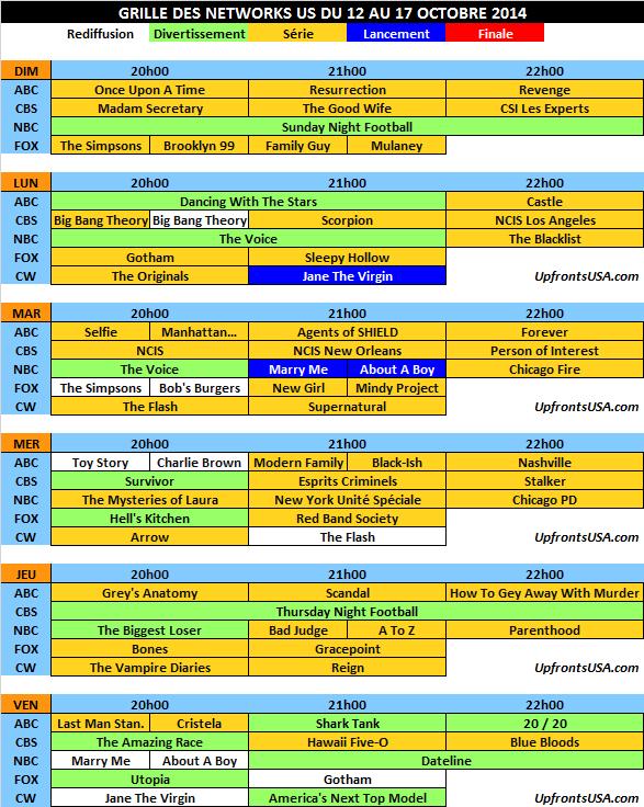 Grille des networks du 12 au 17/10 : lancement de &quot&#x3B;Jane The Virgin&quot&#x3B; et &quot&#x3B;Marry Me&quot&#x3B; &#x3B; début de la saison 2 de &quot&#x3B;About A Boy&quot&#x3B;