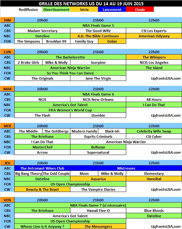 Grille des networks du 14 au 19/06 : conclusion des &quot&#x3B;NBA Finals 2015&quot&#x3B; &#x3B; lancement de &quot&#x3B;The Astronaut Wives Club&quot&#x3B; et de la saison 3 de &quot&#x3B;Mistresses&quot&#x3B; sur ABC