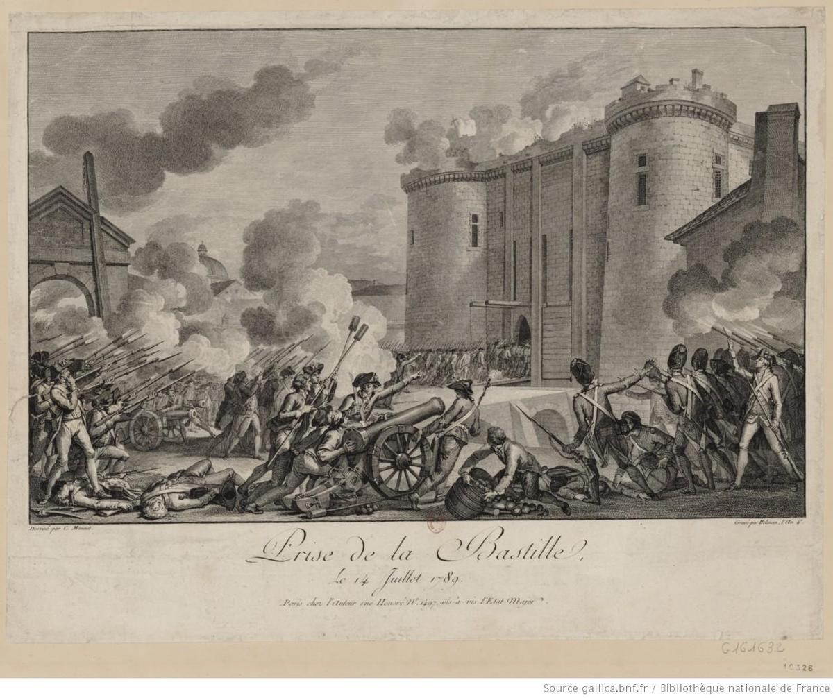 Prise de la Bastille, le 14 juillet 1789 : [estampe] / dessiné par C. Monnet &#x3B; gravé par Helman, l'an 4.e &#x3B; [eau-forte de A.J. Duclos] - Bibliothèque Nationale de France